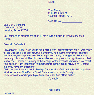Culpepper Law – Claim Template Letter